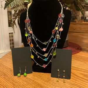 💥4/$10💥 Colorful Multi strand Necklace/Earrings